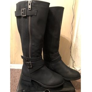 Torrid Wide Black Knee High Boots with Buckles